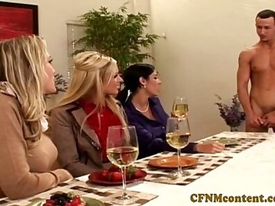 Clothed gals share cock