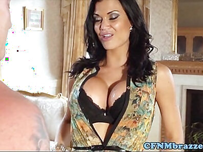 Busty cfnm femdoms sucking and toying