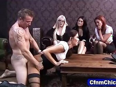 cumming on horny cfnm babe showing ass