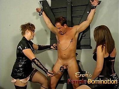 Brunette training femdom slaves paying for sex