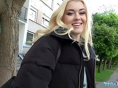 Blonde topless babe public grab a dick and doggy fuck