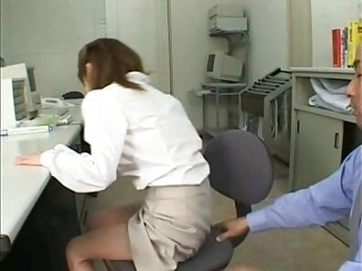 Thick Asian slut pleasing a massive dick at the office