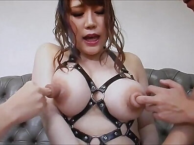 Asian sweety with pierced nipples rides large pecker