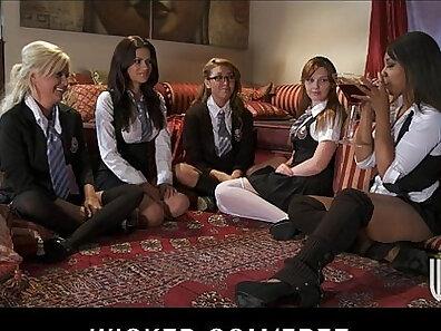 Beautiful lesbo fuck young schoolgirl in glasses