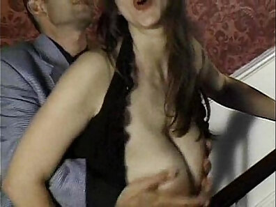 Bitchy and appetizing brunette babeie with nice natural tits is penetrated in mish style