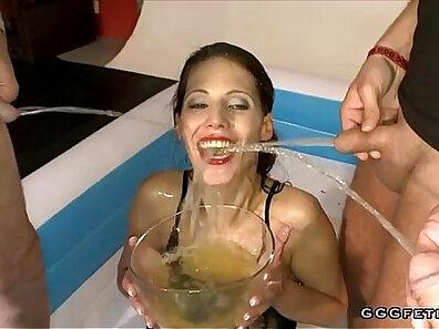Brunette Cindy swallowing first pecker