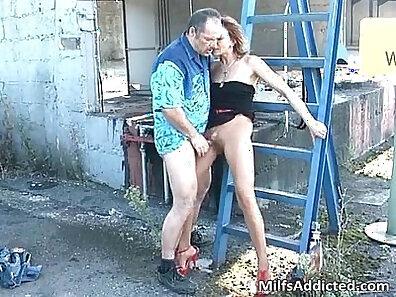 Cute brunette Milf has sex outdoors