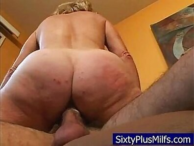 Real doggy style granny getting cumshot
