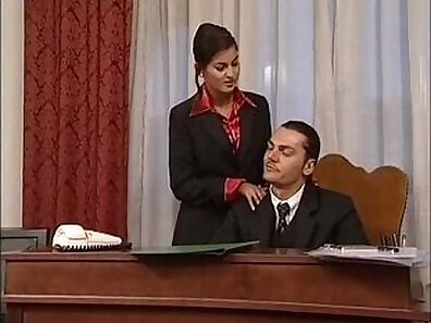 Office Secretary bouncing it up and down