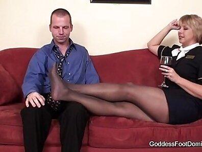 Black Pantyhose Foot Fetish Play