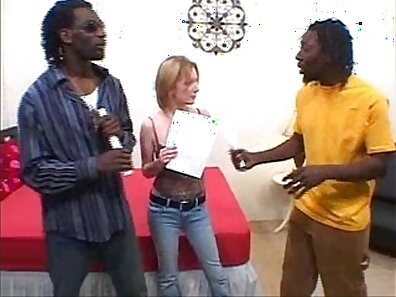 Blonde interracial threesome with a camera