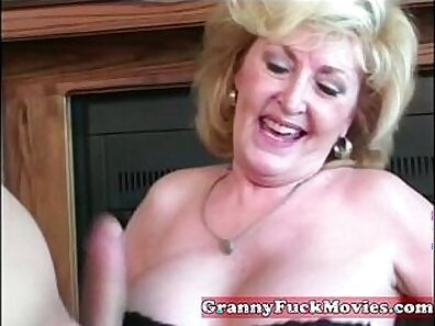 Blonde granny has a wonderful angle on her big sausages
