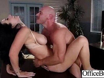Busty nurse Gia in office with welcoming client