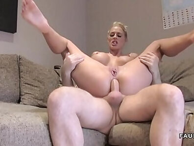 Busty Blonde Bella London got to strap ass to mouth