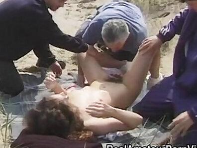 Brunette bombshells outdoor group sex at the beach
