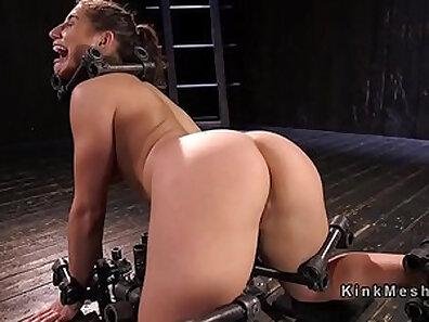 Big Tits Lady Foot slave bondage and extreme slammed